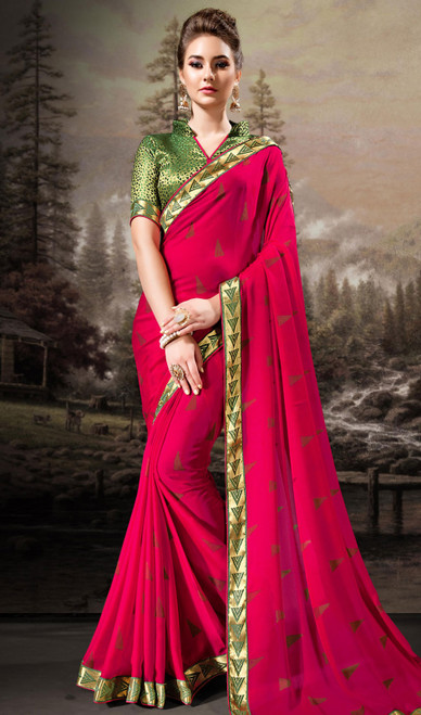 Chiffon Pink Color Shaded Printed Sari