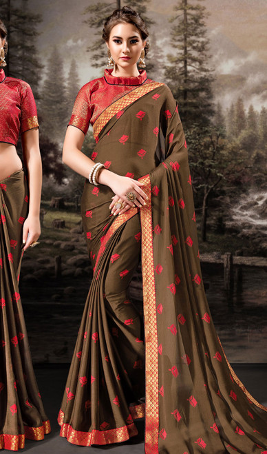 Chiffon Brown Color Shaded Printed Sari