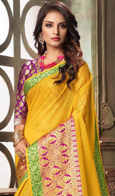 Yellow Color Shaded Cotton Sari