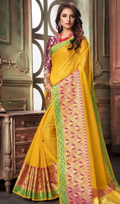 Yellow Color Shaded Cotton Sari