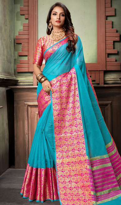 Sky Blue and Pink Color Shaded Cotton Sari