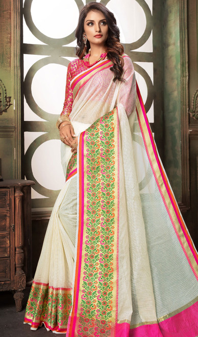 White and Green Color Shaded Cotton Sari