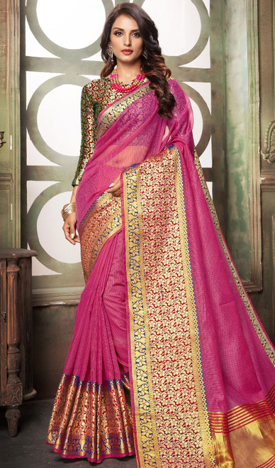 Pink Color Shaded Cotton Sari
