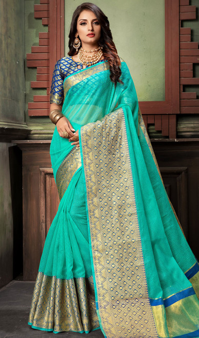 Turquoise Color Shaded Cotton Sari