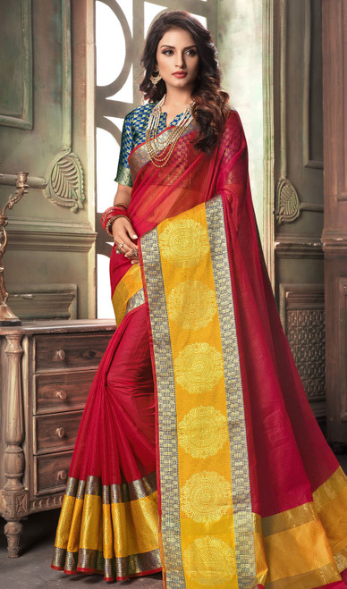 Red and Yellow Color Shaded Cotton Sari