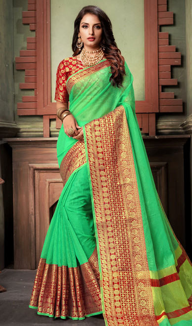 Green Color Shaded Cotton Sari