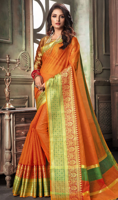 Orange Color Shaded Cotton Sari