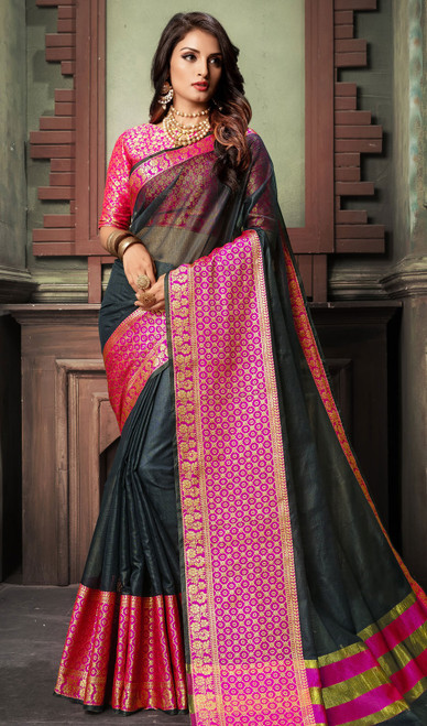 Black and Pink Color Shaded Cotton Sari