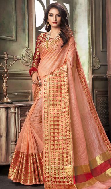 Salmon Color Shaded Cotton Sari