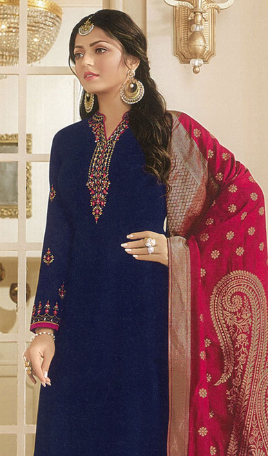 Drashti Dhami Navy Blue Color Georgette Satin Churidar Suit