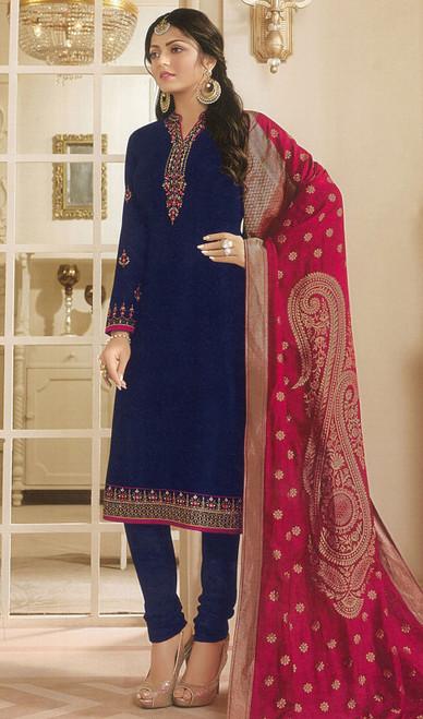 Drashti Dhami Navy Blue Color Georgette Satin Churidar Suit