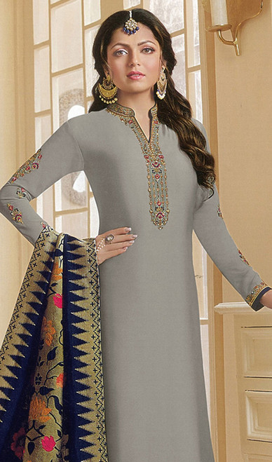 Drashti Dhami Gray Color Georgette Satin Churidar Dress