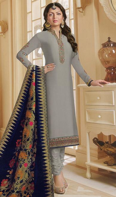 Drashti Dhami Gray Color Georgette Satin Churidar Dress