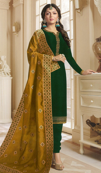 Drashti Dhami Green Color Georgette Satin Churidar Kameez