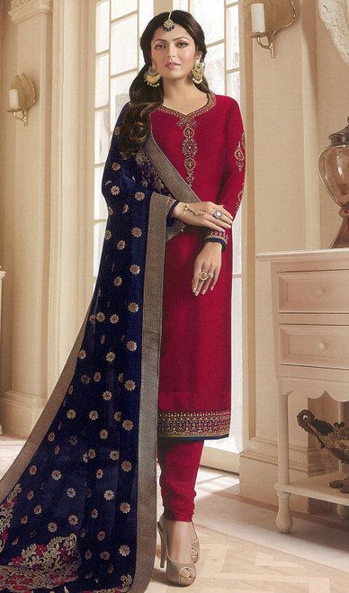 Drashti Dhami Maroon Color Georgette Satin Churidar Suit