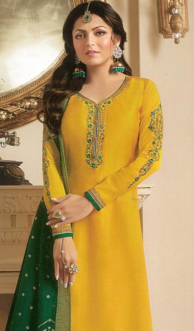 Drashti Dhami Yellow Color Georgette Satin Churidar Dress