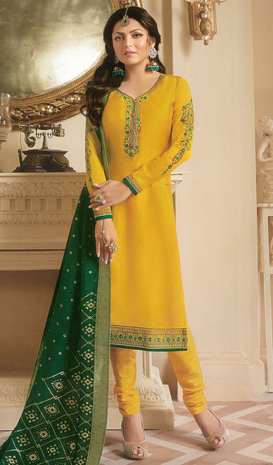 Drashti Dhami Yellow Color Georgette Satin Churidar Dress