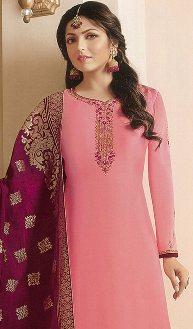 Drashti Dhami Peach Color Georgette Satin Churidar Kameez