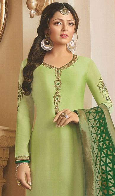 Drashti Dhami Green Color Georgette Satin Churidar Suit