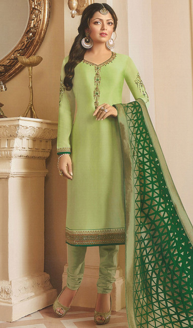 Drashti Dhami Green Color Georgette Satin Churidar Suit