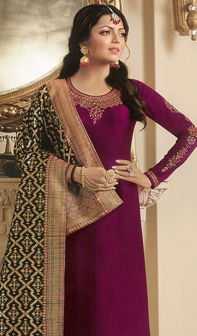 Drashti Dhami Purple Color Georgette Satin Churidar Dress