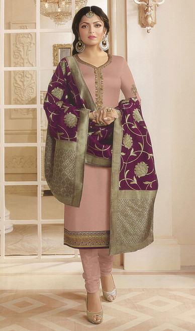 Drashti Dhami Pink Color Georgette Satin Churidar Kameez