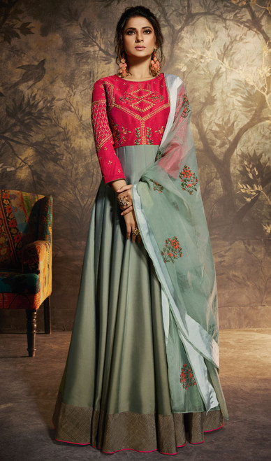Gray and Red Color Embroidered Silk Anarkali Suit