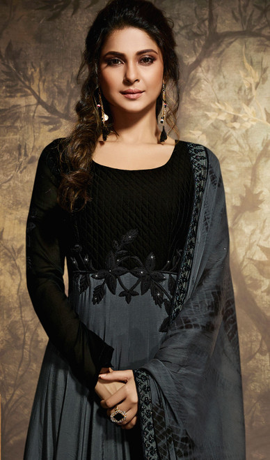 Black Color Shaded Chanderi Embroidered Anarkali Suit