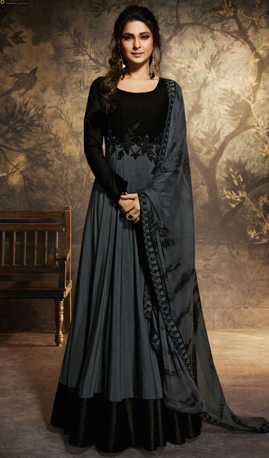 Black Color Shaded Chanderi Embroidered Anarkali Suit