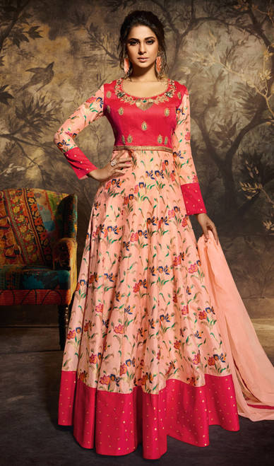 Peach and Red Color Shaded Silk Anarkali Suit