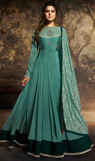 Anarkali Suit in Aqua Green Color Shaded Georgette Silk