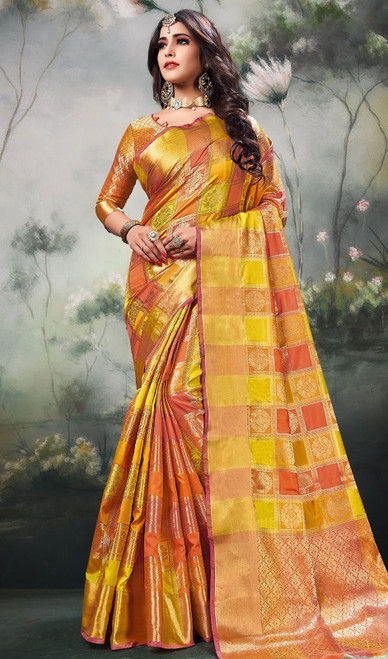 Yellow Color Shaded Silk Sari