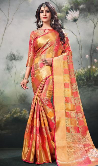 Shaded Peach Color Silk Sari