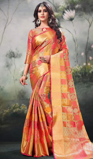Shaded Peach Color Silk Sari