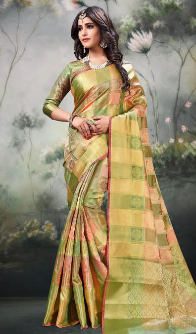 Shaded Green Color Silk Sari