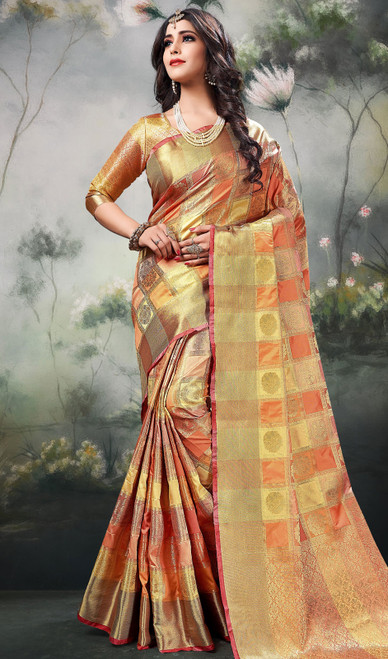 Multicolor Shaded Silk Sari