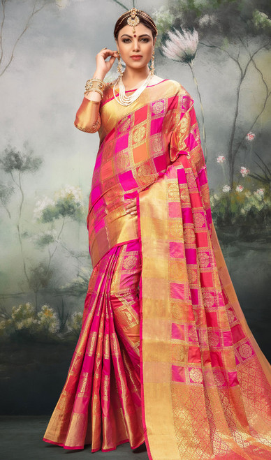Pink Color Shaded Silk Sari