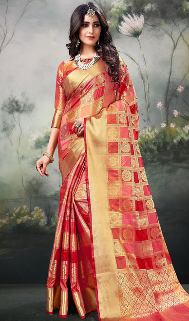 Silk Multicolor Shaded  Sari