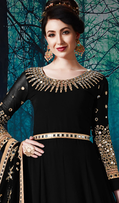 Georgette Black Color Embroidered  Anarkali Suit