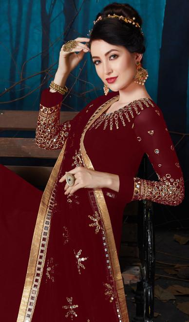 Embroidered Maroon Color Georgette  Anarkali Suit