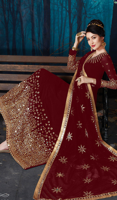 Embroidered Maroon Color Georgette  Anarkali Suit