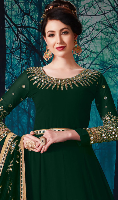 Green Color Anarkali Suit in  Shaded Georgette