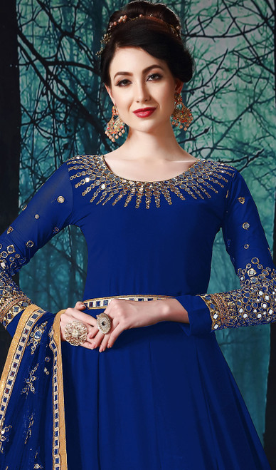 Georgette Fabric in Blue Color Anarkali Suit,  Shaded