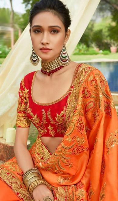 Orange Color Resham Embroidered Silk Sari