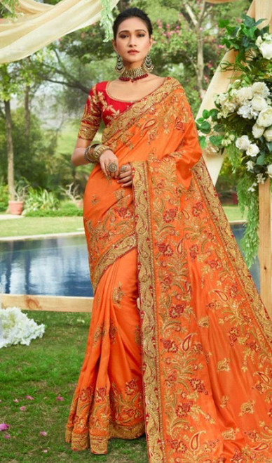 Orange Color Resham Embroidered Silk Sari