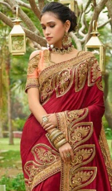 Maroon Color Silk Resham Embroidered Sari