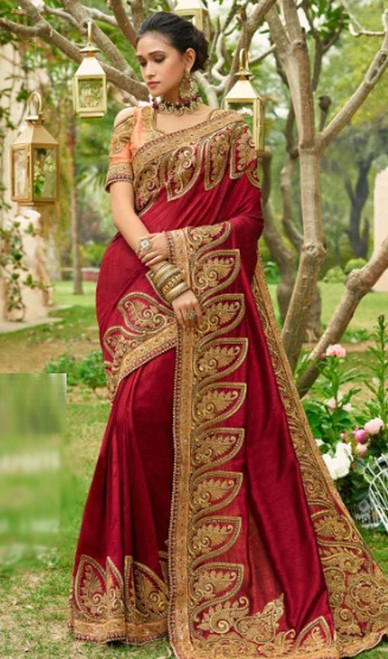 Maroon Color Silk Resham Embroidered Sari