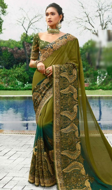 Green and Blue Color Shaded Silk Sari