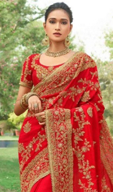 Red Color Embroidered Silk Designer Sari