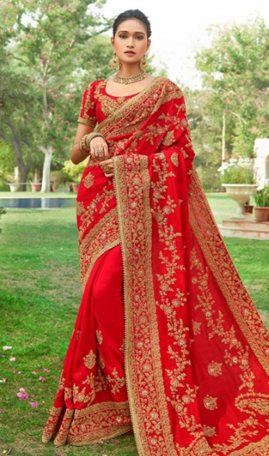 Red Color Embroidered Silk Designer Sari